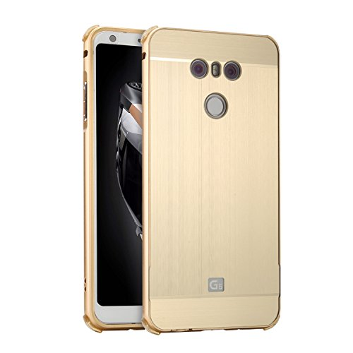 Price comparison product image LG G6 Case,DAMONDY Luxury Ultra thin Metal Brushed Premium Aluminum Shockproof Protective Bumper Hard Back Case Cover for LG G6 2017 -Gold