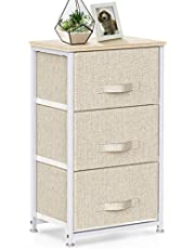 3 Drawer Fabric Dresser Storage Tower, Dresser Chest with Wood Top, Organizer Unit for Closets Bedroom Nursery Room Hallway by Pipishell