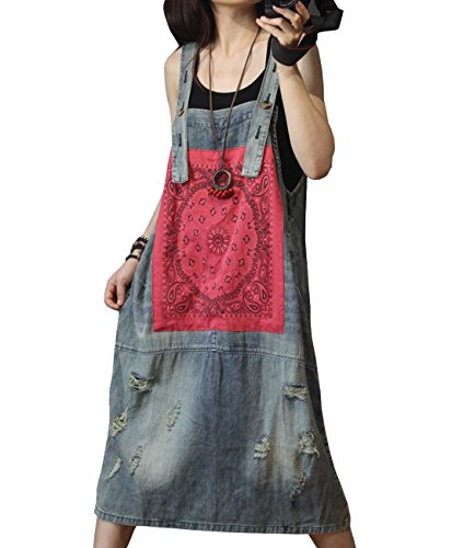 YESNO YC3 Women Casual Loose Denim Overalls Jumpsuits Dress 100% Cotton Distressed Patchwork Pocket
