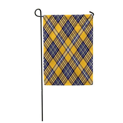 (Tarolo Decoration Flag Blue Socks Tartan Plaid Pattern Traditional Checker All Over for Digital Orange Border Check Thick Fabric Double Sided Home Garden Flag 12