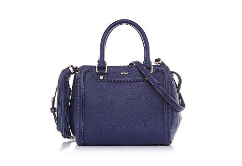 bonia-womans-blue-milled-satchel-one-size-blue