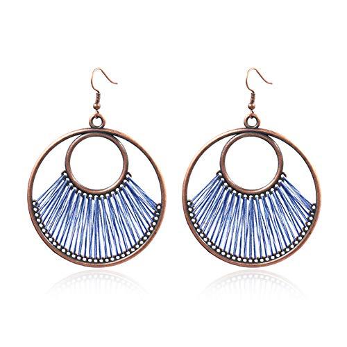 - Earrings Gloa Bohemia Circular Line Fan Ear Hooks Statement Women Earrings Party Jewelry Gift - Blue
