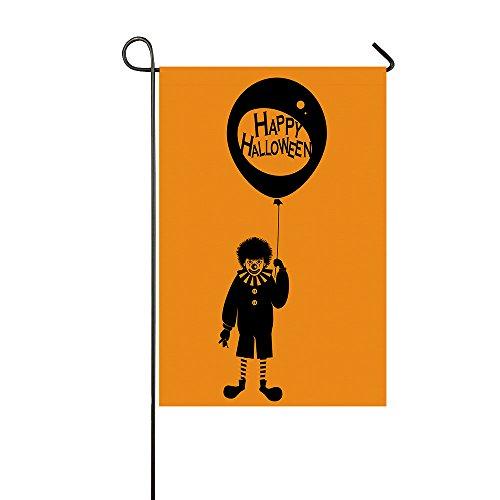 Happy Halloween Evil Clown Pattern Yellow Garden Flags House Decor Mini Yard Banner 28x40inch, 100% Polyester
