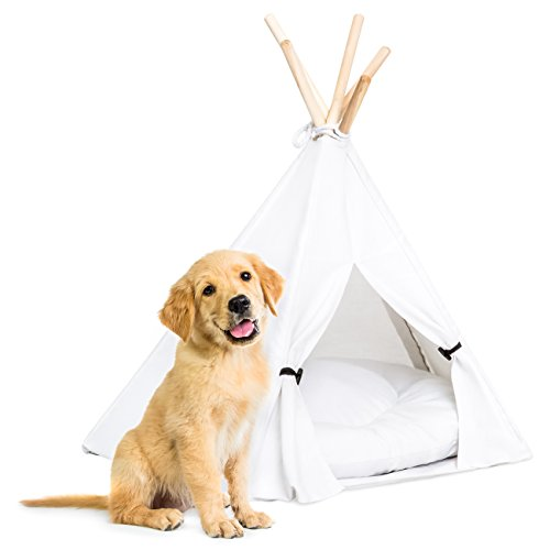 Best Choice Products 24in Portable Pet Teepee Tent Dog Bed w/Cushion and Pine Poles - White ()