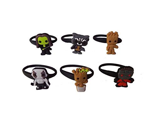 AVIRGO 6 pcs Releasable Ponytail Holder Elastic Rubber Stretchable No-slip Hair Tie Set # 114 - 6 (Pictures Of Gladiators)