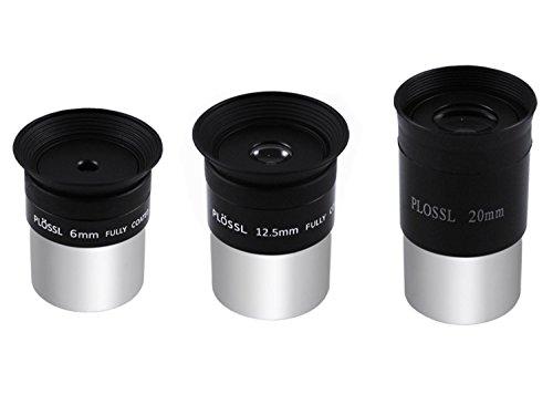 Astromania 1.25-Inch 6mm 12.5mm 20mm Plossl Telescope Eyepiece Set - 4-Element Plossl Design - Threaded for Standard 1.25inch Astronomy Filters