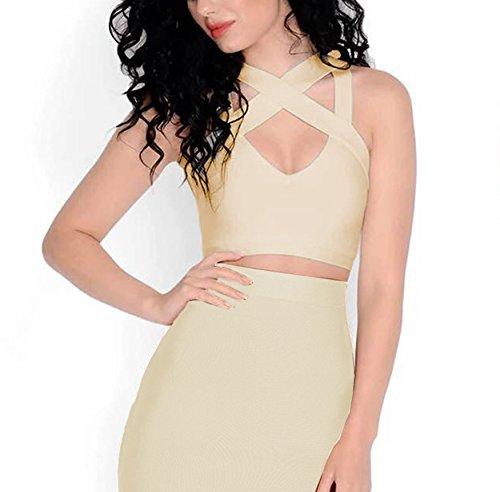 Bandage Vestido Ajustado Vestido Mini sin Rayã³n Dress para Mujer V Bodycon Mangas Vendaje FARINA Escote Bandage 55015beige Vestidos qS1w8WXX