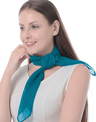 (Athena YY Vintage Style Sheer Chiffon Square Neck Scarf 50s Scarf Turquoise Scarf for Girls Women Ladies Nylon Plain Small Neck Scarf, Adult/Teens 26
