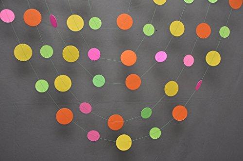 Neon decorations, Birthday party decor, Pink orange yellow green neon garland, Summer decoration, Nursery (Neon Streamers)