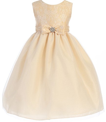 Long Charmeuse Bodice Dress (Little Girls Flocked Textured Bodice Bow Flowers Girls Dresses Taupe 5/6)