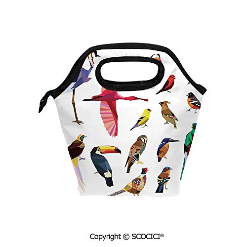 Reusable Insulated Lunch Bags with Pocket Colored Collection of Bird Set with Poly Design Triangle Mosaic Illustration for Living for Adults Kids Boys Girls.