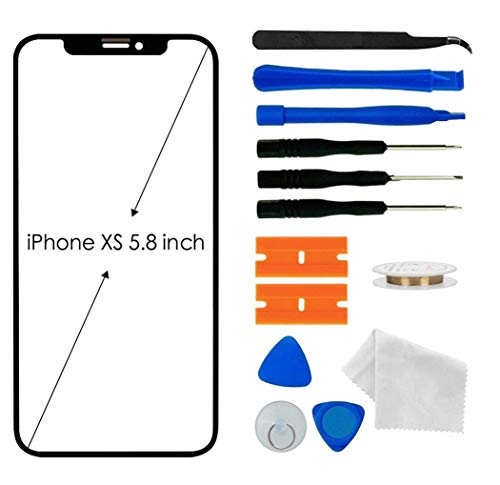 Apple iPhone Xs Screen Lens Glass Replacement Kit,Front Outer Touch Screen Glass Lens Replacement for iPhone Xs 5.8 inch with Adhesive and Tool kit(Black)
