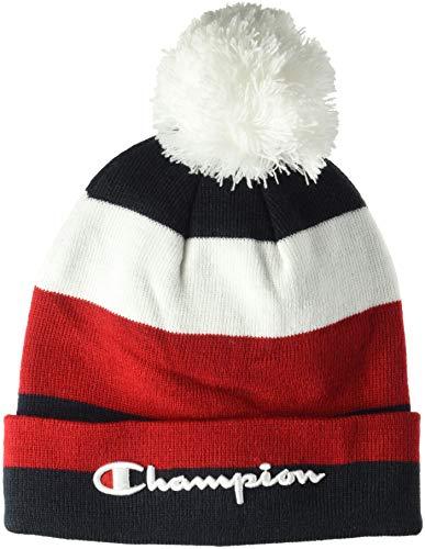 Champion Rugby - Champion LIFE Men's Script Knit POM, Rugby Stripe White/Scarlet/Navy, OS