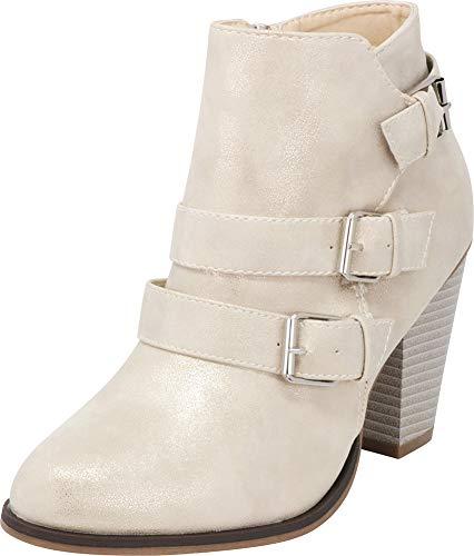 (Cambridge Select Women's Buckle Strap Block Chunky Heel Ankle Booties,7 M US,Champagne Metallic)