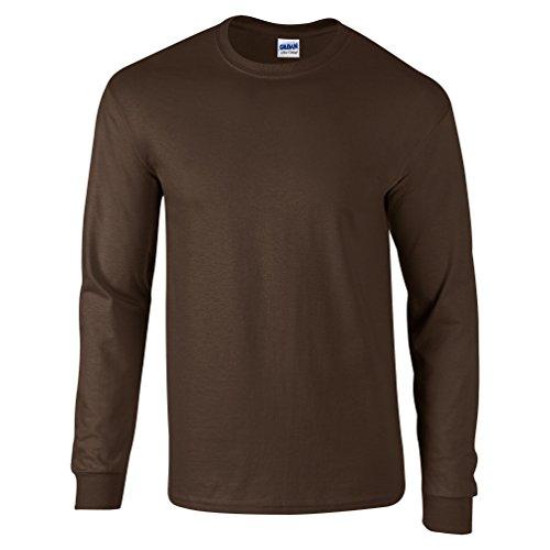 GILDAN Ultra Cotton L/Sleeve Tee, Camiseta para Hombre marrón chocolate