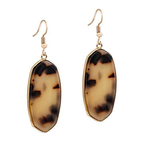 XOCARTIGE Dangle Earrings for Women Mottled Resin Acrylic Earrings Rhombus Drop Hook Earring for Girls (A - Faux Tortoise Earrings