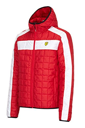 Ferrari Red Hooded Padded Packable Jacket with Ferrari Scudetto on Chest. - Ferrari Jacket For Men