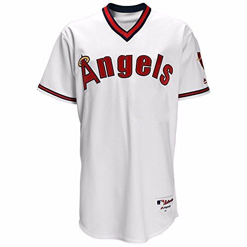 Majestic California Angels MLB Men's White Authentic On-Field Turn Back the Clock Throwback Jersey (48)