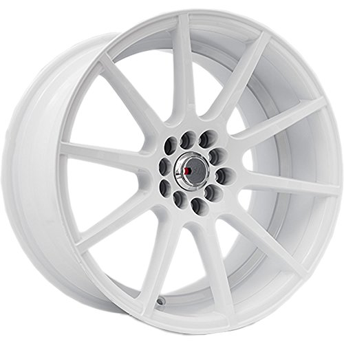 Black Car White Rims (17x9 F1R F17 White Rim Offset(25) Lug(5x100/5x114.3) Bore(73.1) 1 Wheel -- F1717910H25W)
