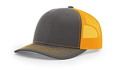 Richardson Charcoal/Neon Orange 112 Mesh Back Trucker Cap Snapback Hat w/THP No Sweat Headliner