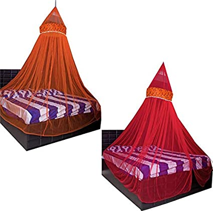 Creative Textiles Combo of Polyester Hanging Double Bed Mosquito Net, Size: King Size (Orange+Red)