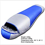 Sleeping Bags 2200g Down Outdoor Camping (red, Green, Blue) (Color : B)
