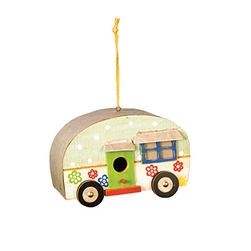 Hanna's Handiworks Blue Happy Camper Floral 9 x 5 Wood and Metal Birdhouse with Twine Hanger