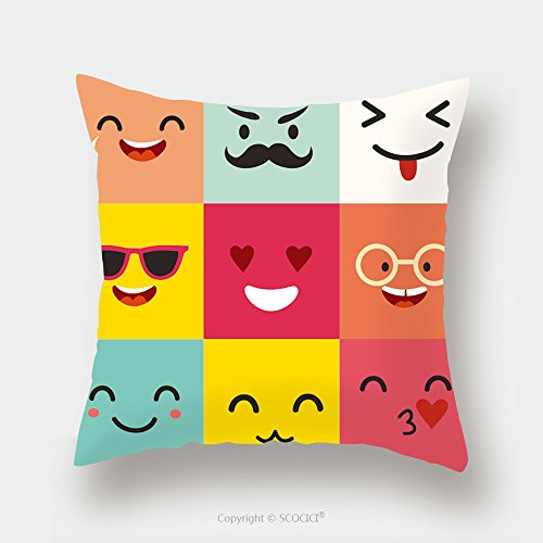 Custom Satin Pillowcase Protector Happy Emoticons Vector Pattern Positive Moji Set Square Icons Cute Emoji Colorfull Illustration 577739467 Pillow Case Covers Decorative by chaoran
