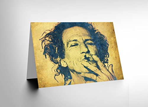 CARD GREETING GIFT PAINTING PORTRAIT POP STAR MUSICIAN KEITH RICHARDS - Musicians Oil Paintings