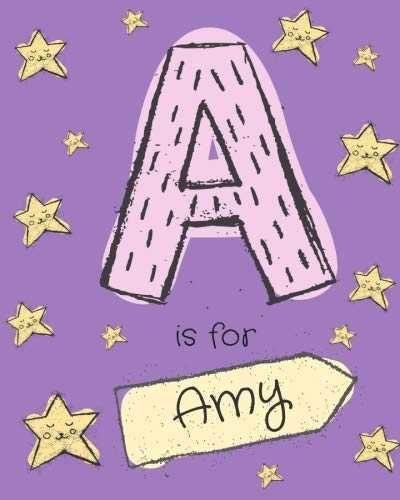 A is for Amy: Amy personalized girls journal notebook. Attractive large 8x10 lined cute girly notebook design with cartoon night stars theme. The ... Amy. Cute cartoon letter initial monogram.