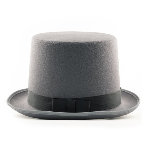 HMS Tall Top Hat 6 Inch High Simulated Wool with Elastic Adjuster, Grey, One Size