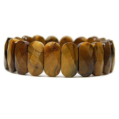 Natural A Grade Golden Tiger Eye Gemstone 20mm Faceted Oval Beads Stretch Bracelet 7.5 inchs - Bracelet Faceted Stretch Oval Beads