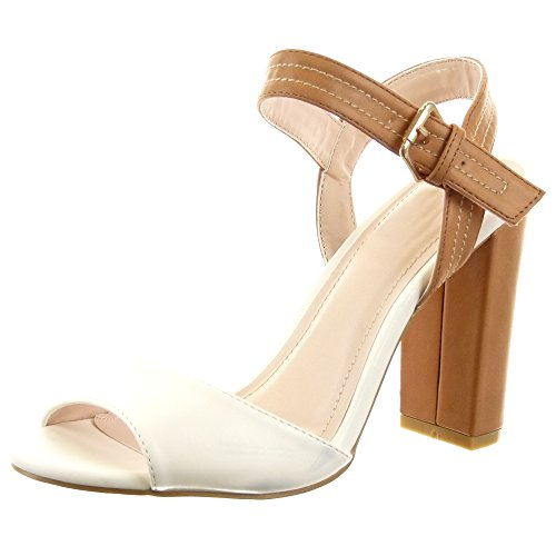 Sopily - Scarpe da Moda sandali scarpe decollete Stiletto alla caviglia  donna Finitura cuciture impunture Tacco