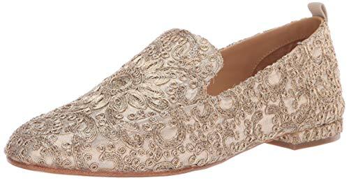 Badgley Mischka Women's Vivianne Loafer Flat, Platino Fabric, 8.5 M US
