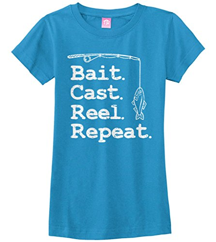 Bait Fitted T-shirt - Threadrock Big Girls' Bait Cast Reel Repeat Fitted T-Shirt M Turquoise