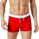 Men's Swimming Trunks Boxer Brief Swimsuit Swim Underwear Boardshorts Beach Trousers (M, Red)