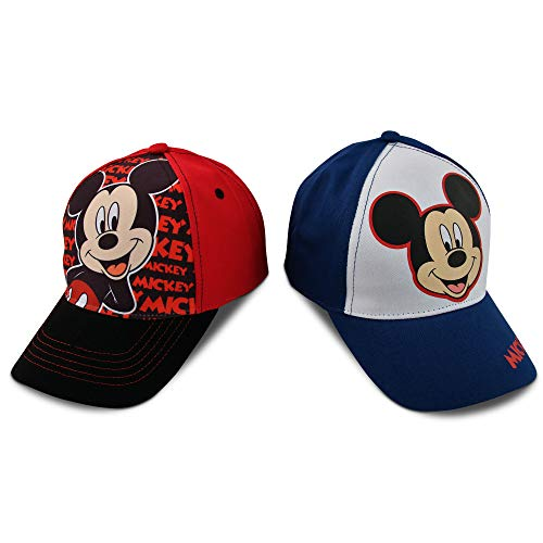 Disney Little Boys Assorted Character Cotton Baseball Cap, 2 Piece Design Set, Age 2-7 (Little Boys - Age 4-7 - 53 cm, Mickey Mouse Design - 2 Piece Set) -