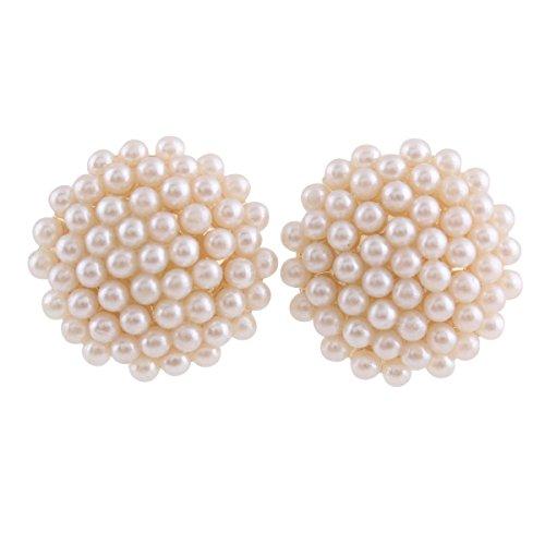 Grace Jun Bridal Wedding Clip Earrings No Pierced Gold Plated Charm Jewelry Pearl earrings