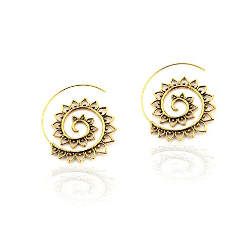 Antiqued Golden Filigree Sunflower Spiral Thread-Thru Drop/Hoop - Gold Filigree Antiqued Tone