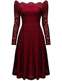 Womens Vintage Dresses Floral Lace Off Shoulder Boat Neck Cocktail Formal Swing Dress