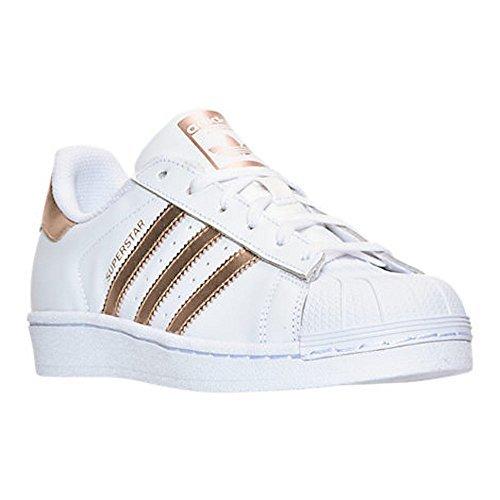 adidas Originals Women's Superstar W Fashion Sneaker (Womens 7, White/RoseGold2/GoldLabel)