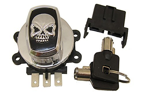 Electronic ignition switch, 6 pole, featuring a skull cap style V-Twin