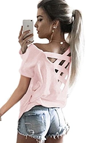 ECOWISH Women's Summer Cut Out Loose Shirts Criss Cross Back Top Tee Blouse US M Pink