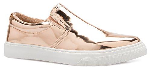 Olivia K Dames Ronde Neus Slip Op Platform Loafer Sneaker - Schattige Gewatteerde Schoen - Eenvoudig Dagelijks Terug Naar School Mode Rosegold Glanzend