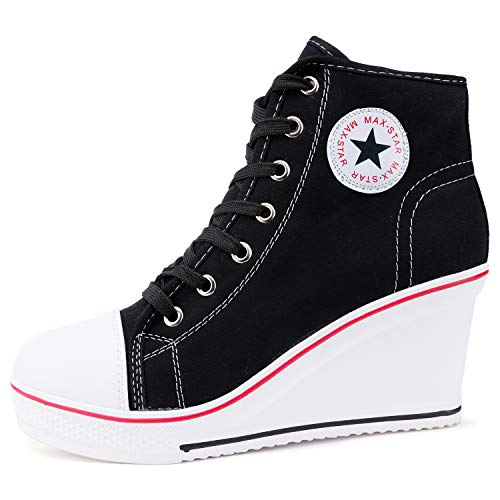 - Catata Women's High Top Canvas Shoes High Heel Wedge Lace up Side Zipper Sneaker