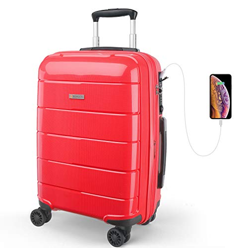 REYLEO Expandable Luggage 20 Inch PP Carry on Luggage Travel Suitcase with USB Charging Port Built-in TSA Lock 8 Silent Spinner Wheels Side Handle, Red
