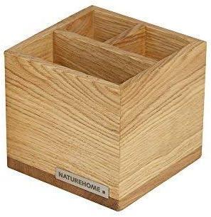 NATUREHOME CLASSIC Stiftebox aus Eichenholz - Stifteköcher hochwertige Holz Ordnungsbox im modernen Design für Stifte Lineale Scheren