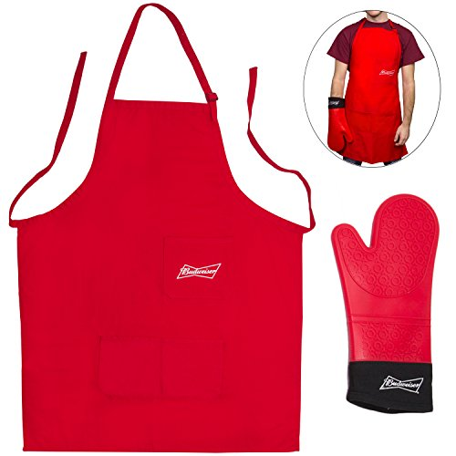 budweiser-grilling-mitt-and-barbecue-apron-tailgating-bbq-apron-extra-long-heat-resistant-oven-mitt