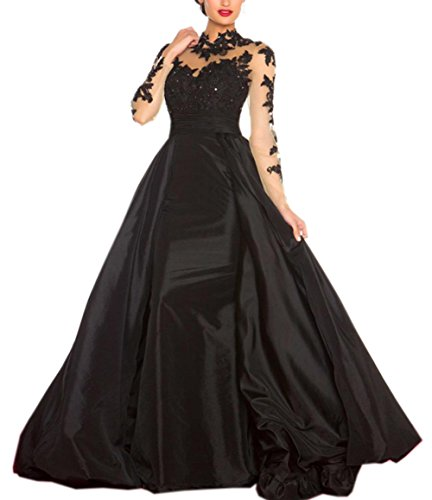 High Neck Back Black Open Long Dress Women's Beautyfudre Appliques Sleeves Evening qAE6fE7x