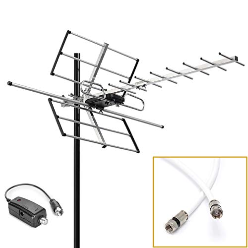 pingbingding Outdoor Digital Amplified Yagi HDTV Antenna, Built-in High Gain and Low Noise Amplifier, 40FT RG6 Coaxial Cable, 120 Miles Range with UHF and VHF Signal
